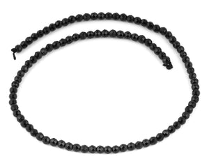 4mm Black Agate Faceted Gem Stone Beads