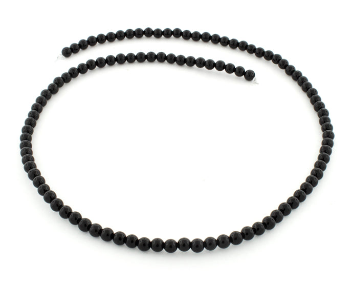 4mm Black Agate Round Gem Stone Beads