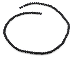 4mm Black Faceted Rondelle Crystal Beads