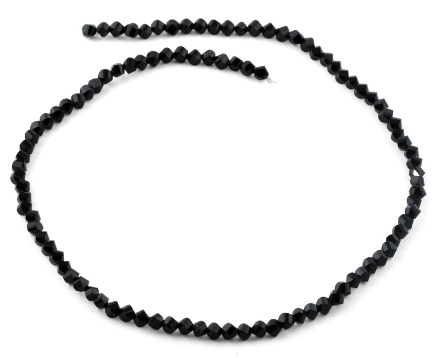 4mm Black Twist Round Faceted Crystal Beads