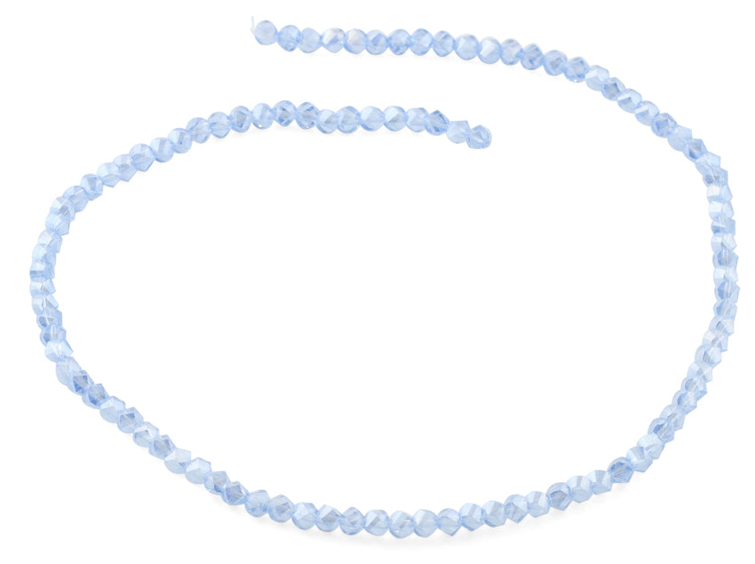 4mm  Blue Twist Round Faceted Crystal Beads