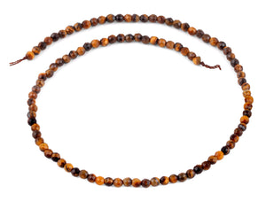 4mm Brown Tiger Eye Faceted Gem Stone Beads