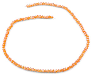 4mm Clear Orange Faceted Rondelle Crystal Beads