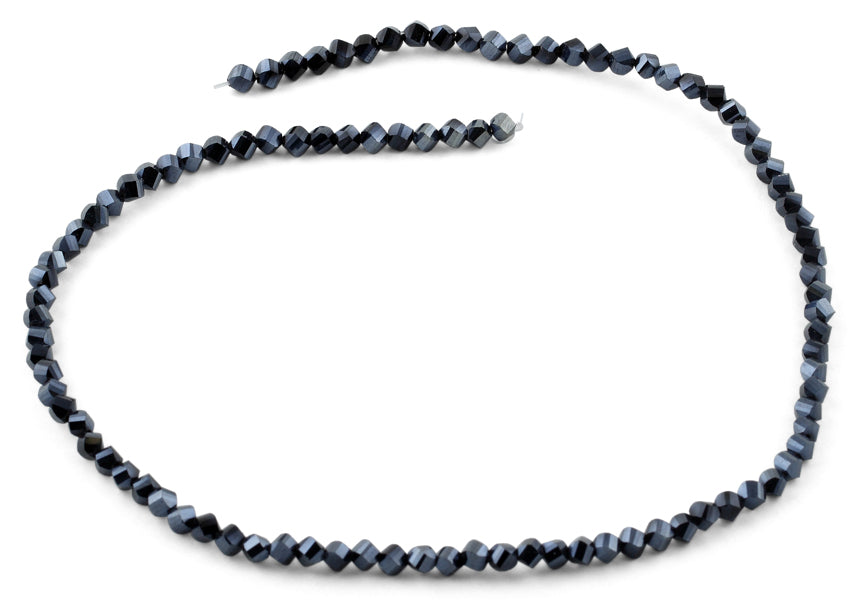 4mm Dark Blue Twist Round Faceted Crystal Beads