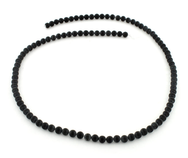 4mm Frosted Blackstone Round Gem Stone Beads