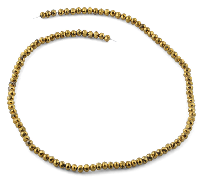 4mm Gold Faceted Rondelle Crystal Beads