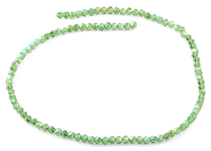 4mm Green Twist Round Faceted Crystal Beads