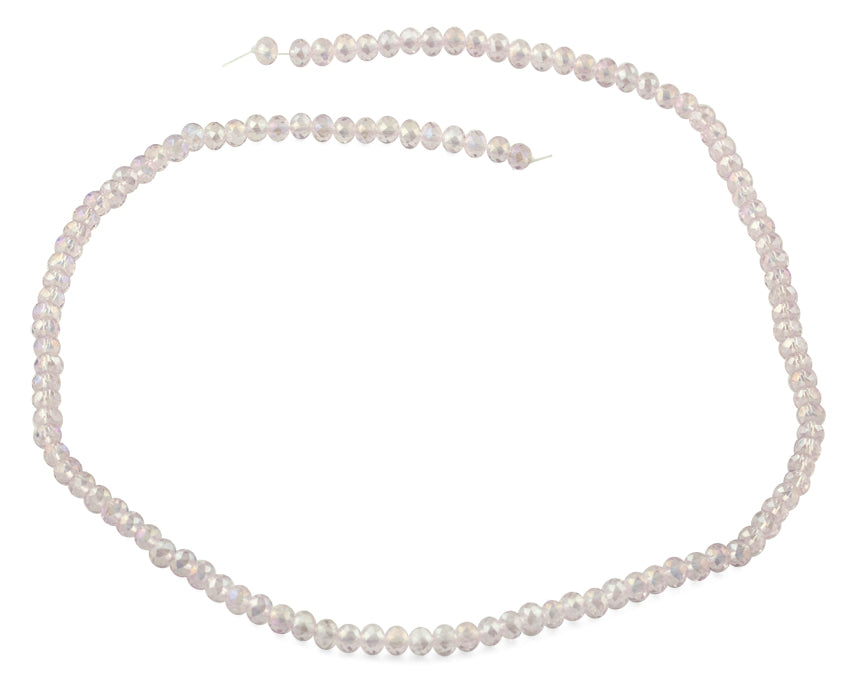 4mm Light Rose Faceted Rondelle Crystal Beads