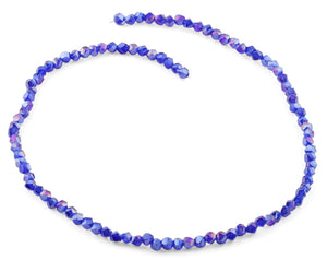 4mm Navy Blue Twist Round Faceted Crystal Beads