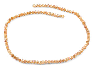 4mm Orange Twist Round Faceted Crystal Beads
