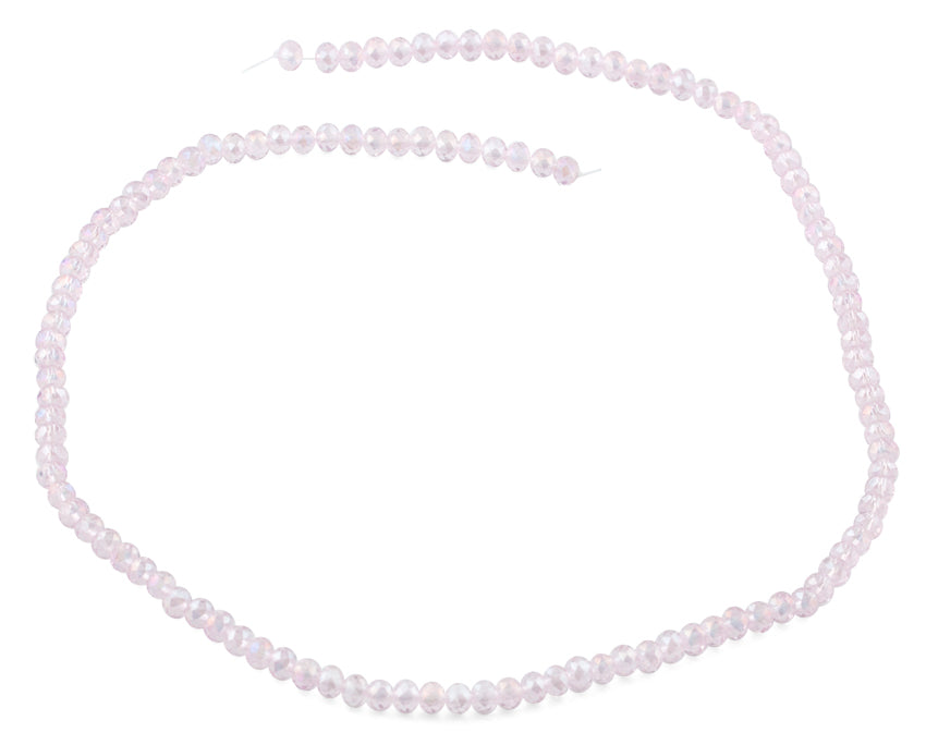 4mm Pink Faceted Rondelle Crystal Beads