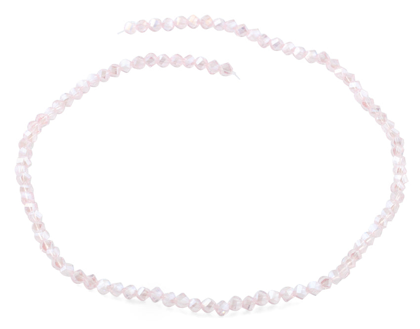 4mm Pink Twist Round Faceted Crystal Beads