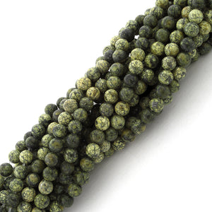4mm Plain Round Russian Serpentine Gem Stone Beads