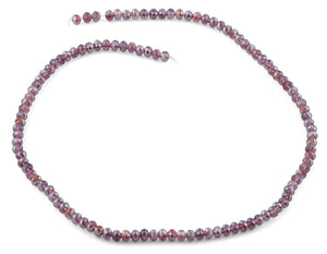 4mm Purple Faceted Rondelle Crystal Beads
