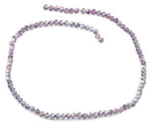 4mm Purple Twist Round Faceted Crystal Beads