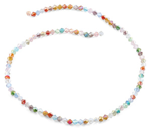 4mm Rainbow Faceted Bicone Crystal Beads