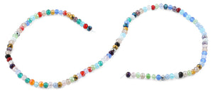 4mm Rainbow Faceted Rondelle Crystal Beads