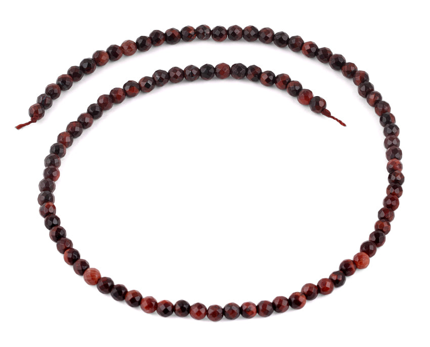 4mm Red Tiger Eye Faceted Gem Stone Beads