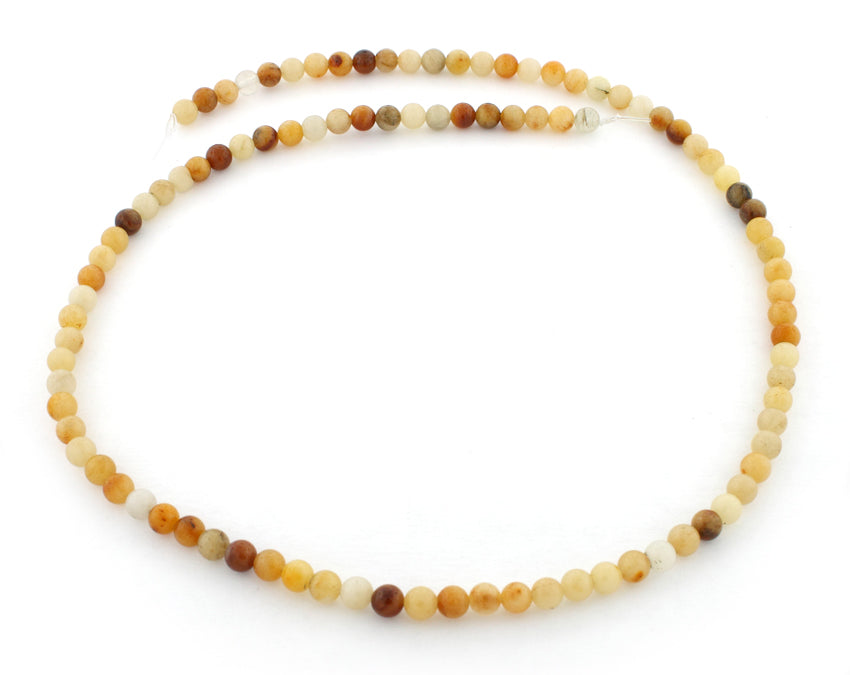 4mm Round Golden Jasper Gem Stone Beads