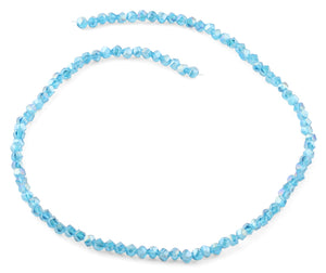 4mm Teal Twist Round Faceted Crystal Beads