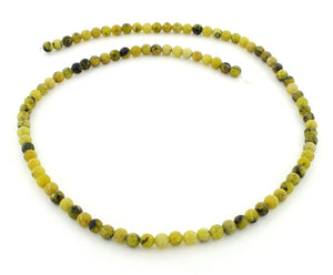 4mm Yellow Turtle Jasper Round Gem Stone Beads