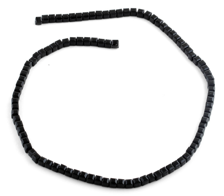 4x4mm Black Square Faceted Crystal Beads