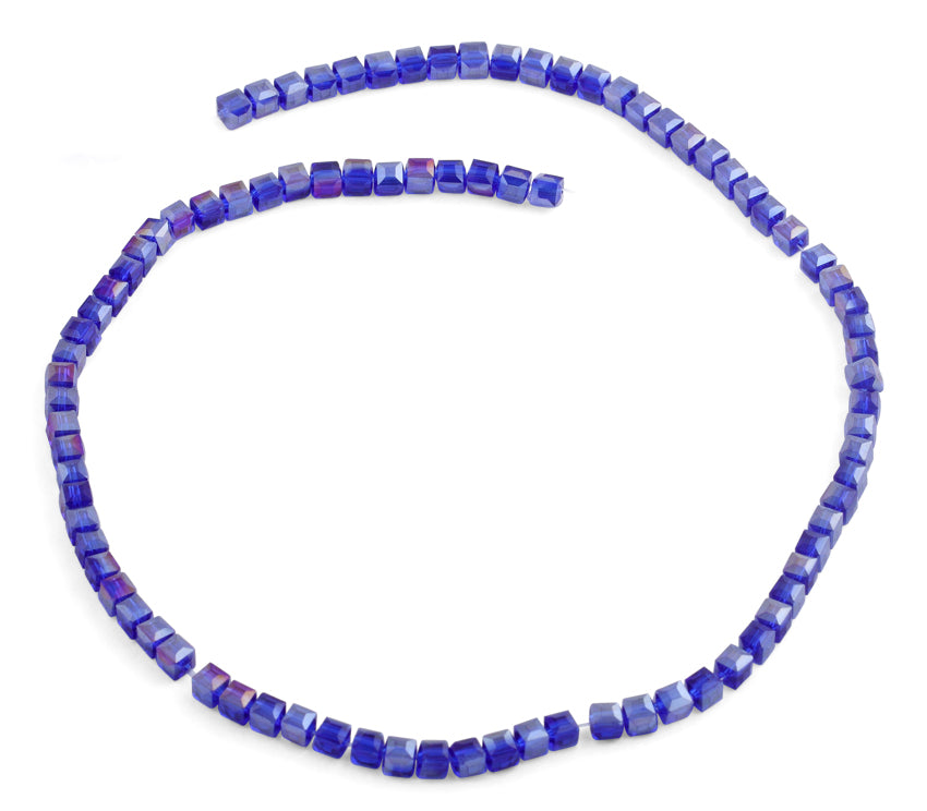 4x4mm Blue Square Faceted Crystal Beads