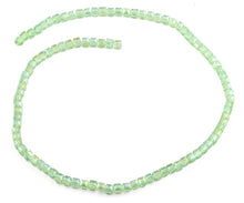 Load image into Gallery viewer, 4x4mm Green Square Faceted Crystal Beads
