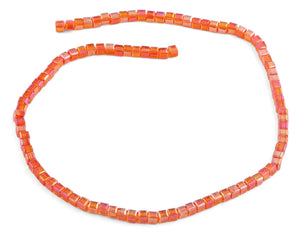 4x4mm Orange Square Faceted Crystal Beads