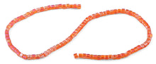 Load image into Gallery viewer, 4x4mm Orange Square Faceted Crystal Beads