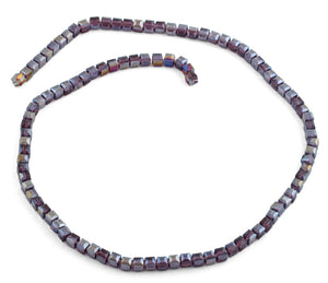 4x4mm Purple Square Faceted Crystal Beads