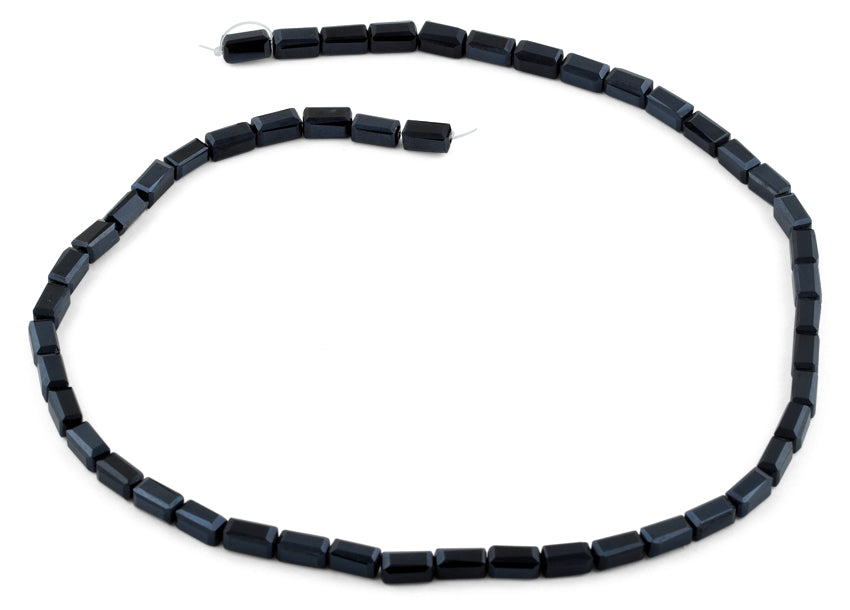 4x8mm Black Rectangle Faceted Crystal Beads