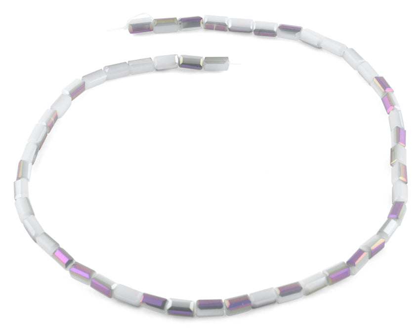 4x8mm Grey and Purple Rectangle Faceted Crystal Beads