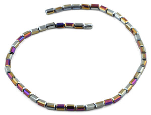 4x8mm Metallic Purple Rectangle Faceted Crystal Beads