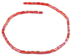 4x8mm Red Rectangle Faceted Crystal Beads