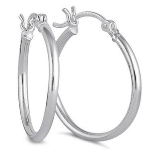 Sterling Silver 2.0MM x 25MM Hoop Earrings