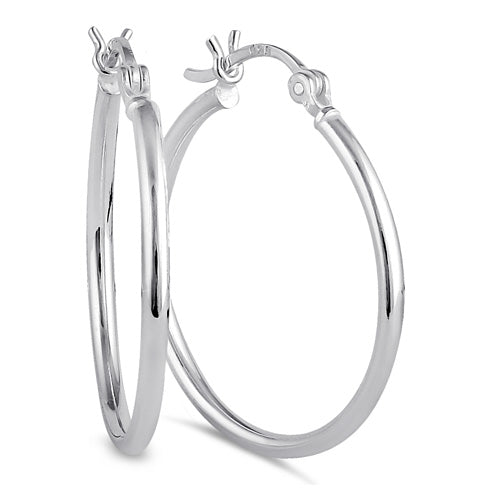 Sterling Silver 2.0MM x 30MM Hoop Earrings