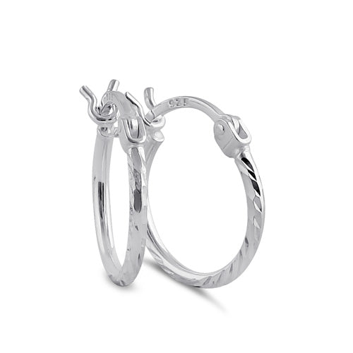 Sterling Silver 1.5MM x 20MM Textured Hoop Earrings