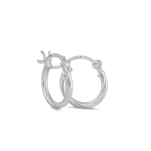 Sterling Silver 2.0MM x 10MM Rope Hoop Earrings