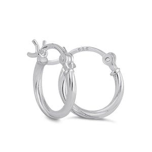 Sterling Silver 2.0MM x 20MM Rope Hoop Earrings