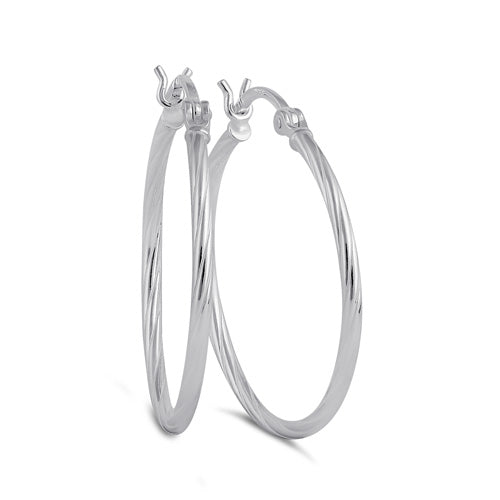 Sterling Silver 2.0MM x 25MM Rope Hoop Earrings