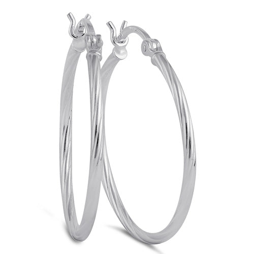 Sterling Silver 2.0MM x 30MM Rope Hoop Earrings