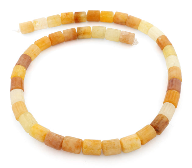 5x10mm Tube Yellow Jade Gem Stone Beads