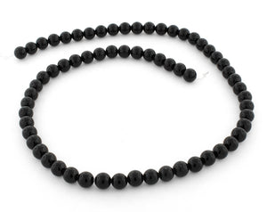 6mm Black Agate Round Gem Stone Beads