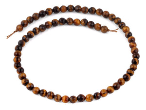 6mm Brown Tiger Eye Faceted Gem Stone Beads