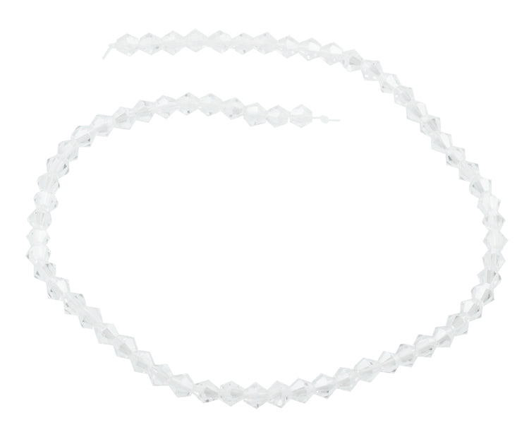 6mm Faceted Bicone Clear Crystal Beads