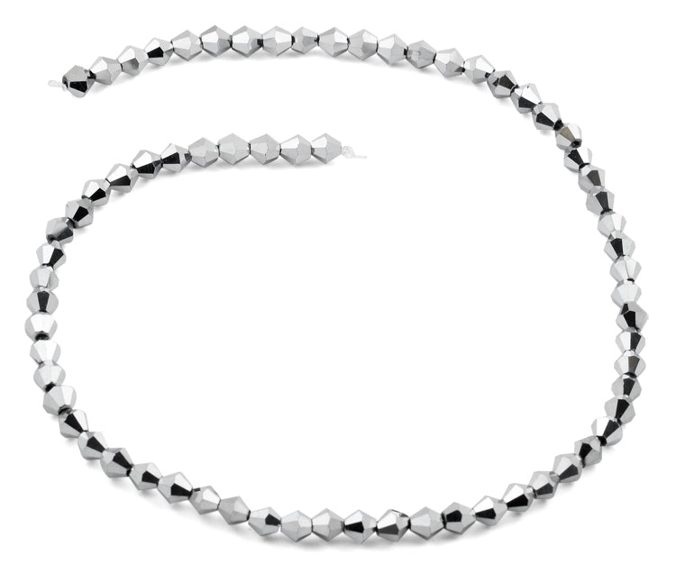 6mm Faceted Bicone Silver Crystal Beads