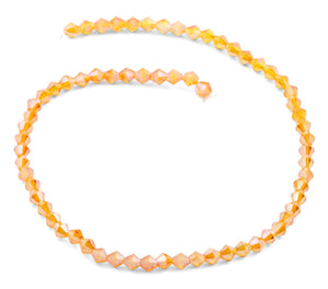 6mm Faceted Bicone Tangerine Crystal Beads