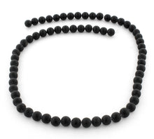 Load image into Gallery viewer, 6mm Frosted Black Round Gem Stone Beads