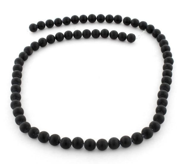 6mm Frosted Black Round Gem Stone Beads